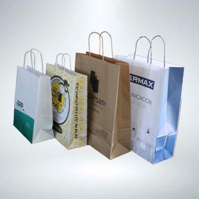 Bolsas de papel asa rizada varios tamaños