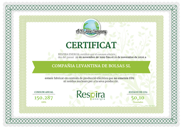 Certificado de no emisiones CO2