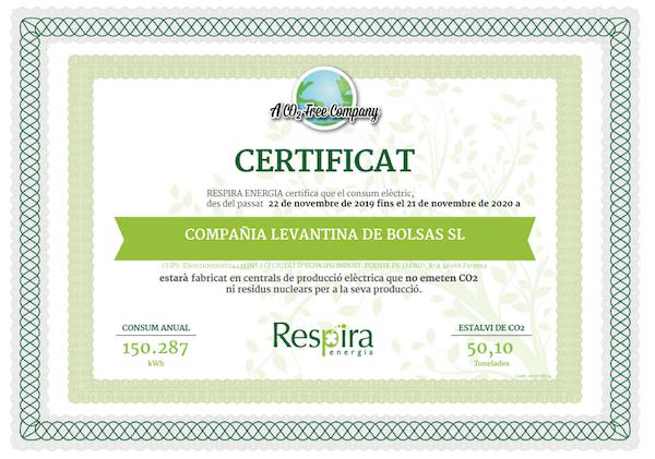 Certificado de no emisiones CO2